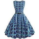 VEMOW Heißer Elegante Damen Mädchen Frauen Vintage Bodycon Sleeveless Beiläufige Abendgesellschaft Tanz Prom Swing Plissee Retro Kleider(Blau 3, EU-40/CN-XL)