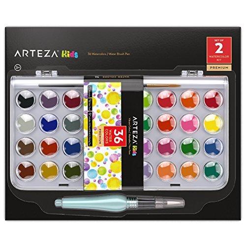 ARTEZA Kids Estuche de acuarelas y pincel para niños | 36 colores...