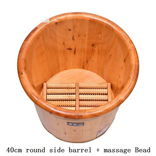 AMYMGLL 40 cm Fuß Bad Barrel + Massage Roller Solid Zedernholz Fuß Basin Wanne Eimer für Fuß Bad einweichen Wärme Erhaltung Fuß Badewanne (Größe: Durchmesser 41 cm * Höhe 40 cm) -