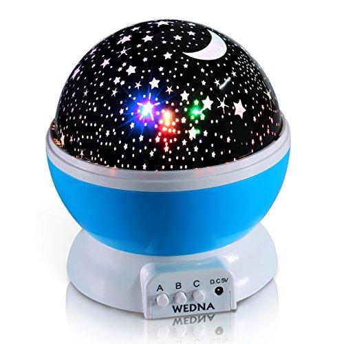 Wedna novità 360girante Galaxy Night Light, Romantic Cosmos Star Moon Sky proiettore, idea da letto lampada per bambini e neonati-calmante e rilassante (blu)