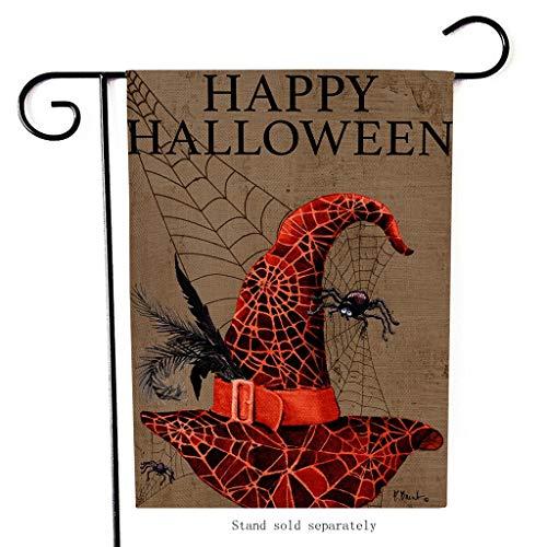 XINAINI Gartenflagge Happy Halloween, Doppelseitige Mit Gruseligen KüRbis Auto SchäDel Mondlicht Spinnen Fledermaus Muster Dekoration, Ideal FüR Den (Kinder Schädel Ninja Kostüm)