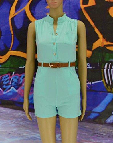 Smile YKK Combinaison Short Femme Jumpsuit avec Ceinture Taille Haute Ensemble One Pièce Casual Vert