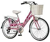 breluxx 24 Zoll Damenfahrrad Venera Fashion Secret Garden Citybike Korb + Licht Retro Damenrad, 6 Gang Shimano