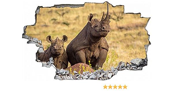 Wütendes Nashorn Afrikanische Tiere Wandtattoo WS-17669