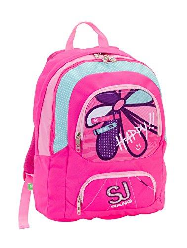 Zaino scuola tondo bambina SJ GANG - Rosa Azzurro - 28 lt - elementari e medie -