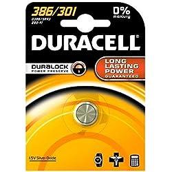 DURACELL Lot de 2 Piles Watch Oxide d'argent 386/301 D386 SR43 blister de 1