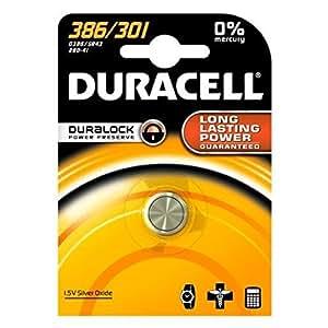 DURACELL Lot de 5 Piles Watch Oxide d'argent 386/301 D386 SR43 blister de 1