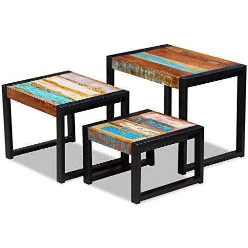 3-teiliges Set Nachttisch (Festnight 3-teiliges Satztisch-Set aus Recyceltes Massivholz Stahlrahmen Stapelbar Satztische als Kaffeetisch Couchtisch Beistelltisch)