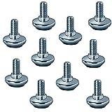 Gedotec Verstellschraube M10 Möbel-Regulierschraube Tischbeine & Maschinen - Schränke   Möbelschraube Metall verzinkt   Möbelfuß mit schwarzem Kunststoffgleiter   10 Stück
