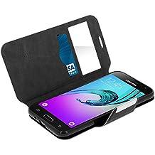 Avizar Custodia, Custodia Folio a Finestra Funzione Supporto per Samsung Galaxy J3–Nero