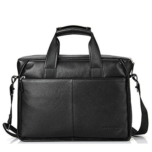 BINSON DENIM Herren Leder Aktentasche Herren Handtaschen Herren Umhängetasche Herren Laptop Tasche Hohe Qualität N2237 (Schwarz) Schwarz