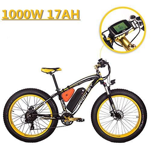 eBike_RICHBIT 022 Elettrico Mountain Bike Fat Tire Bicicletta Cruiser Ciclismo 1000W 48V 17AH eBike,Nero-Giallo