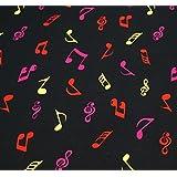 Notas Musicales Imprimir Algod—n Artesan'a Tela - 1 Metro