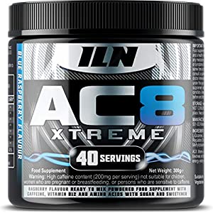51UUv6jBlpL. SS300  - Iron Labs Nutrition, AC8 Xtreme (Blue Raspberry) - 300 grams - Pre-Workout Supplement With Caffeine, Beta-Alanine, Glutamine and Creatine - 20-40 Pre Workout Servings