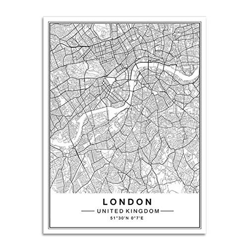 XIAOJIE0104 Mundo Famoso Mapa Ciudad Pinturas Lienzo