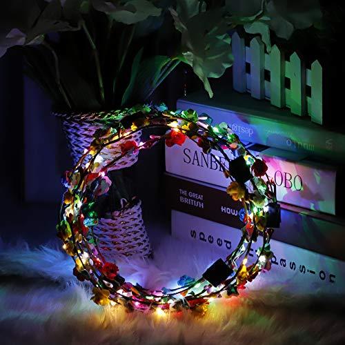 Led Mädchen Kostüm Licht - JK 7 Stück Blume Rose Stirnbänder LED Leuchtende Haarkranz Girlanden, LED blinkende Lichter Haarbänder für Kinder Mädchen Party Kostüm