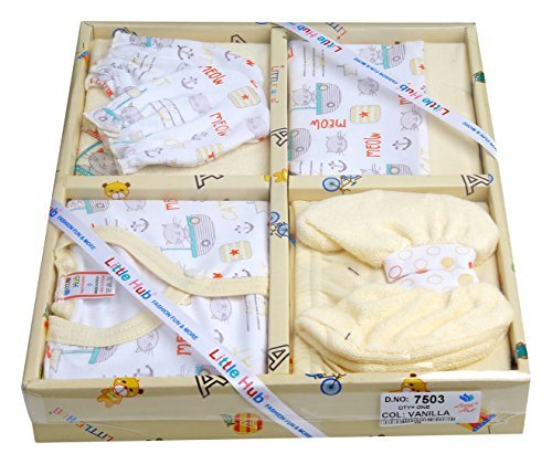 Little Hub Baby Boy's Cotton Set (Vanilla, 0-3 Months) - Pack of 6