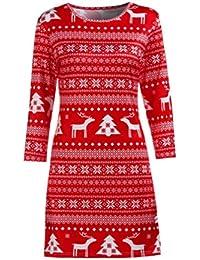 3e9199fdec32 TWIFER Frauen Weihnachtskleid Deer Bedruckter Blumen Herbst Winter Drei  Viertel Damen Minikleid
