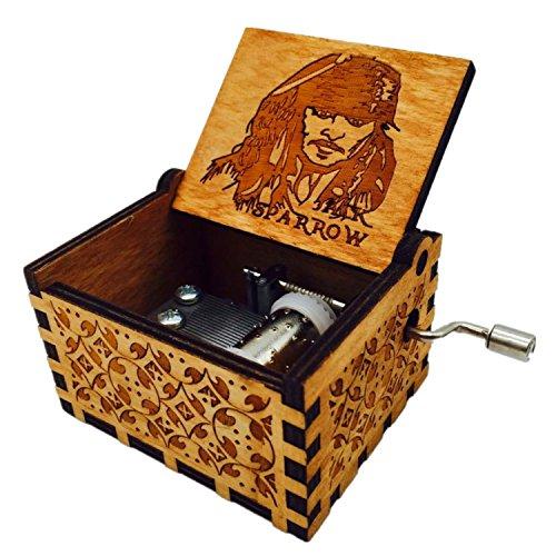 HLZK Piratas de la caja de música del Caribe, antiguo tallado de madera...