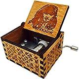 HLZK Piratas de la caja de música del Caribe, antiguo tallado de madera Davy Jones