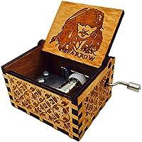 HLZK Piratas de la caja de música del Caribe, antiguo tallado de madera Davy Jones capitán Jack cajas musicales Regalo de cumpleaños