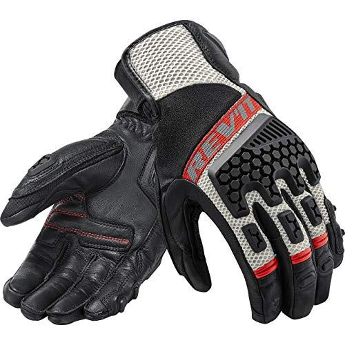 REV'IT! Motorradschutzhandschuhe, Motorradhandschuhe kurz Sand 3 Handschuh schwarz/rot M, Unisex, Tourer, Sommer, Leder/Textil