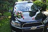 Autodeko Autoschmuck Hochzeit Deko Hochzeitsdeko Rattan 9 Rosen + Blumenstrauß NEU! (rosa)