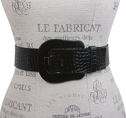 Ladies Croco Print Western Buckle Patent Leather Wide Fashion Belt, Black | S/M - 32 (Womens Western Belt Buckle)