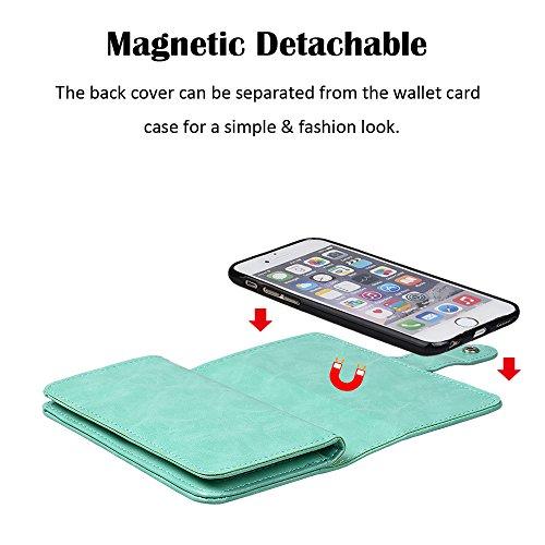 """xhorizon MLK [upgrade] 2-en-1 design Support de voiture remarquable pour téléphone portable à deux volets Folio Portefeuille en cuir pour iPhone 7 [4.7""""] (noir) avec film protection d'écran verre trem vert"""