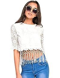 Women's Ladies Lace Fringe Crop Top
