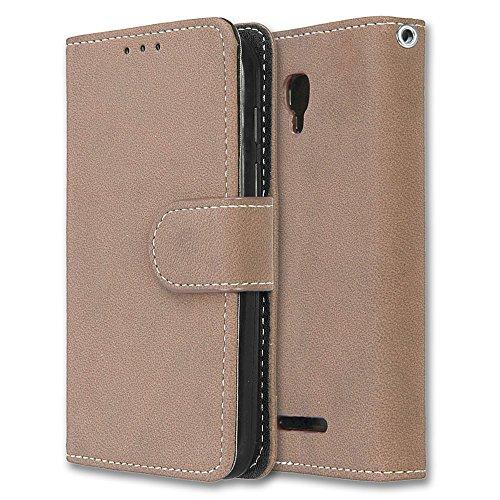 Alcatel Pixi First Hülle, Chreey Matt Leder Tasche Retro Handyhülle Magnet Flip Case mit Kartenfach Geldbörse Schutzhülle Etui [Khaki]