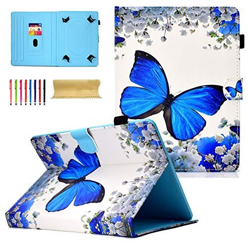 Dteck   Funda universal para Apple iPad, Samsung Galaxy, Huawei, Asus, Dell, HP, LG G Pad, KOBO, RCA, Google, Prestige Pro Hisense y más Andriod Windows Tablet 01 Flower Butterfly For 9 10.1 inch tablet