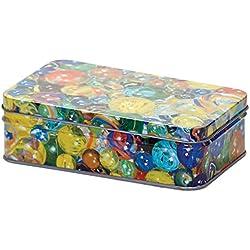 Caja de metal con 60 Canicas de colores