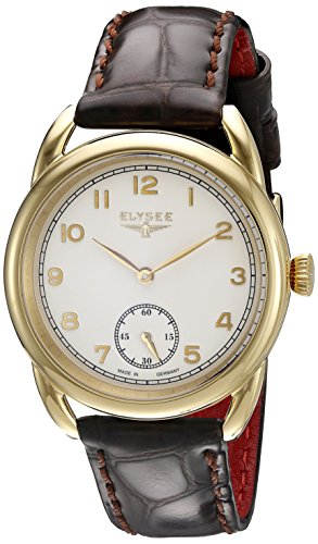 ELYSEE Made in Germany Vintage Lady 80542 36mm Gold Plated Stainless Steel Case Brown Calfskin Synthetic Sapphire Women's Watch