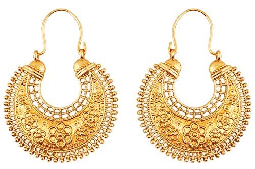 Touchstone indischen Bollywood Pretty Fransen und Floral Thema Ethnic South Indian chandbali Moon Bridal Designer Schmuck Kronleuchter Ohrringe für Damen in Antik Gold Ton (Designer Ohrringe)