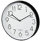 Hama Wanduhr Elegance, analoge Quarz-Uhr ohne Funk, großer Durchmesser 30 cm, Tiefe 4,5 cm, inklusive Batterie, schleichender Sekundenzeiger, schwarz/weiß