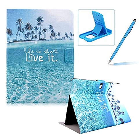 For Samsung Galaxy Tab S 10.5 SM-T800 Portable Leather Case,For Samsung Galaxy Tab S 10.5 SM-T800 Stand Case Smart Cover Protective Tablet Case Magnetic Cover,Herzzer BookStyle Premium [Life is Short Live it Pattern] Case Folio PU Leather Wallet Ultra Slim Smart Cover PU Leather Case with ID Cards Slots For Samsung Galaxy Tab S 10.5 SM-T800 + 1 x Blue Cellphone Kickstand + 1 x Blue Stylus Pen