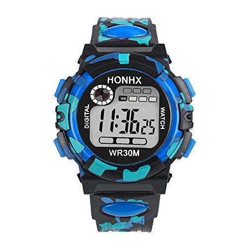 Altsommer Kinder Digital SportUhr Outdoor Wasserdichte Armbanduhr mit Tarnung Muster Silikonarmband Junge Mädchen Uhr,LCD Digital Stoppuhr Datum Silikon für Junge Mädchen Uhren (Blau)