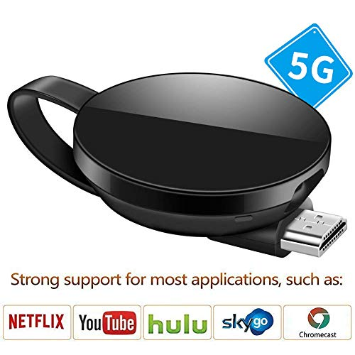 gle-Empfänger, 5G-Netzwerk Version 1080P HDMI Miracast WiFi Media Streamer Adapter Unterstützung YouTube Netflix Hulu Plus Airplay DLNA-TV-Stick für iOS / Android-Smartphones ()