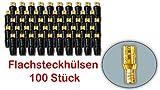 #7623P# Flachsteckhülsen / Flachstecker 4,8mm Lautsprecher-Anschlussstecker - vergoldet - 100 Stück