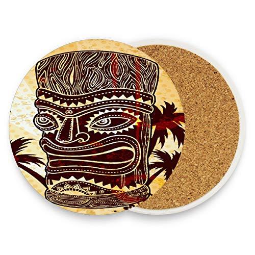 Vintage Aloha Tiki Icons Runde saugfähige Keramik Stein Getränkeuntersetzer Kaffeetassen Matten Set für Home Office Bar Küche (Set von 1 Stück), keramik, multi, 4er-Set