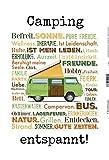 Camping - entspannt! Urlaub Caravan Bulli Schild aus Blech, Metal Sign, tin
