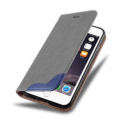Cadorabo - Etui Housse pour Apple iPhone 7 avec Fermeture Magnétique Invisible (stand horizontale et fentes pour cartes) désign raphia - Coque Case Cover Bumper Portefeuille en NOIR GRIS-BLEU