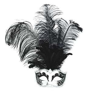 PARTY DISCOUNT Maske Venedig mit langen Federn, silber