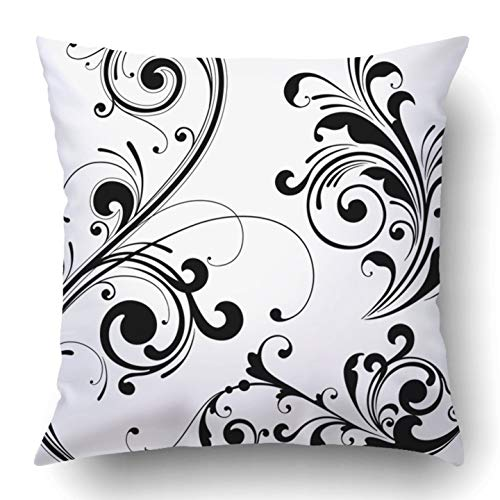 RAINNY Throw Pillow Covers Curl Floral Design Curve Scroll Modern Leaf Retro Plant Grungy Polyester Square Hidden Zipper Decorative Pillowcase 16x16 inch -
