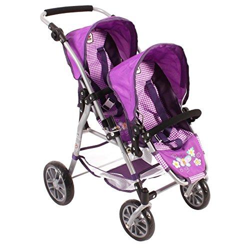 Bayer Chic 2000 69128 - Tandem de sillas de paseo Twinny para muñecas, diseño de ajedrez, 46cm, color lila