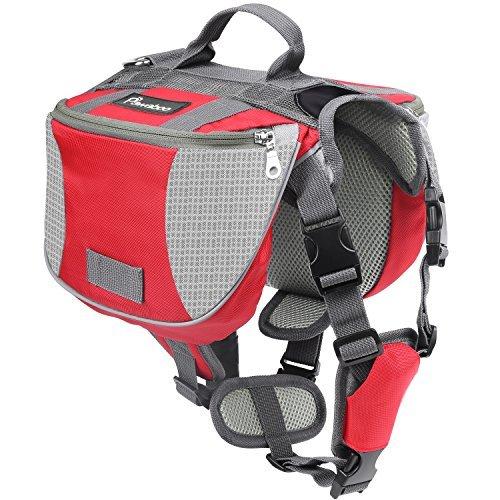 Pawaboo Hunde Rucksack Radtasche Hundetasche – verstellbar Haustier Katze Tragetasche Hundegeschirr Sicherheitsgeschirr mit Leinen für Outdoor, Reise, Camping, Wandern, M Größe, Rot & Grau