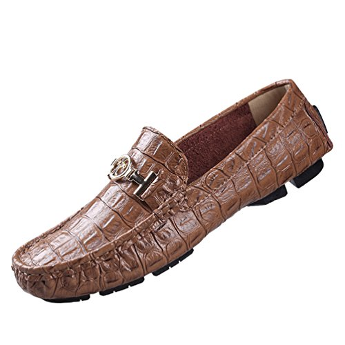 Anguang Unisexe Mode Conduite Chaussures Mocassins Pu Cuir Damen Plat Hommes Bateau Chaussures Glisser Sur Mocassins Marron # 2