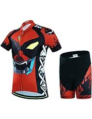 wulide Ensemble Maillot de cyclisme enfant maillot de vélo manches courtes + pantalon de avec rembourrage
