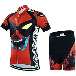 Wulide Niños?Rueda equipación de Bicicleta Camiseta Manga Corta + Pantalones con Asiento Acolchado, Primavera/Verano, niño, Color Augen, tamaño Large